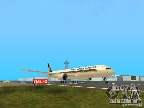Airbus A350-900 Singapore Airlines para GTA San Andreas esquerda vista