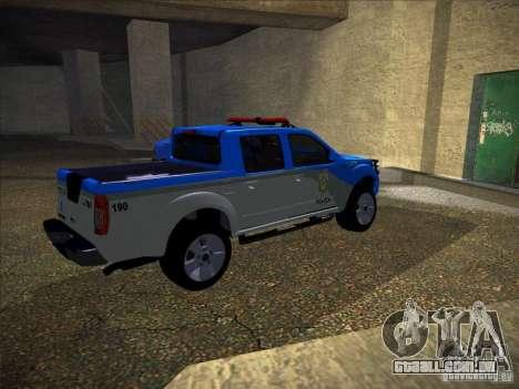 Nissan Frontier PMERJ para GTA San Andreas traseira esquerda vista