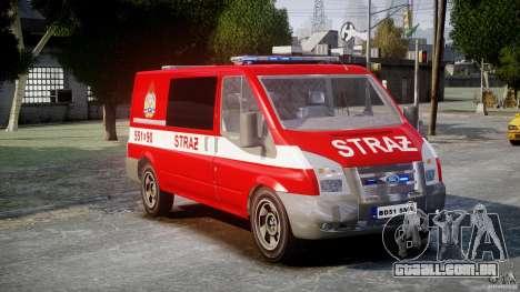 Ford Transit Polish Firetruck [ELS] para GTA 4 vista direita