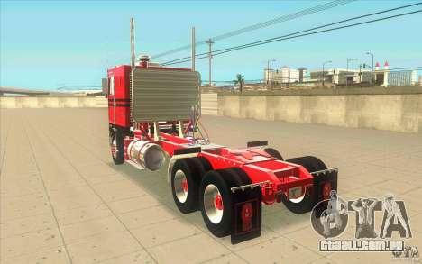 Kenworth K100 Extended Wheel Base para GTA San Andreas traseira esquerda vista
