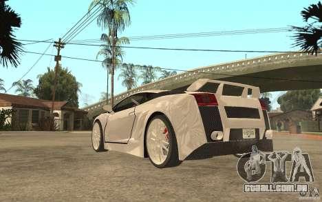 Lamborghini Gallardo MW para GTA San Andreas traseira esquerda vista