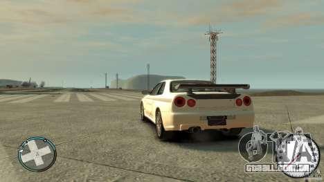 Nissan Skyline GTR R34 Mine s para GTA 4 esquerda vista