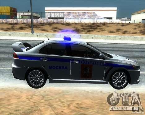 Mitsubishi Lancer Evolution X PPP polícia para GTA San Andreas esquerda vista