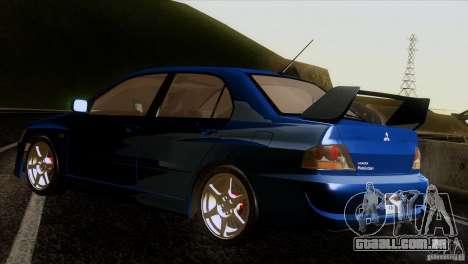 Mitsubishi Lancer Evolution IIIV para GTA San Andreas traseira esquerda vista