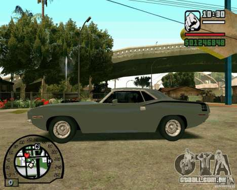 Plymouth Hemi Cuda 440 para GTA San Andreas vista direita