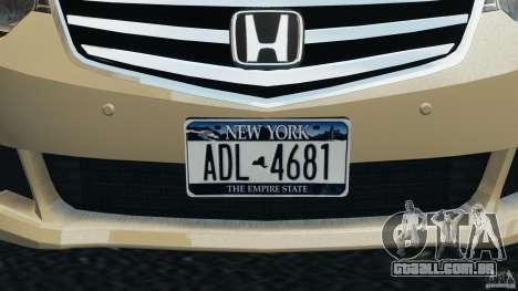 Honda Accord Type S 2008 para GTA 4 vista inferior