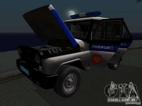 UAZ-315195 caçador de polícia para vista lateral GTA San Andreas