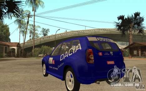 Dacia Duster Rally para GTA San Andreas traseira esquerda vista