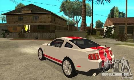 Ford Mustang Shelby GT500 2011 para GTA San Andreas vista direita