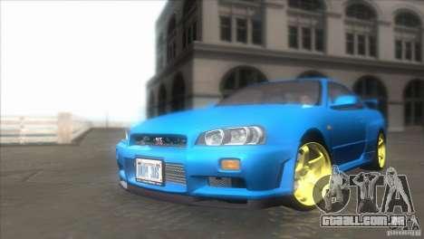 Nissan Skyline GTR-34 para GTA San Andreas vista traseira