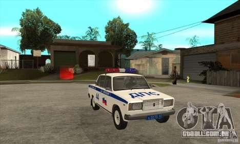 Polícia de 2107 VAZ para GTA San Andreas vista traseira