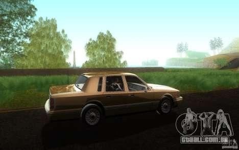 Lincoln Towncar 1991 para GTA San Andreas esquerda vista
