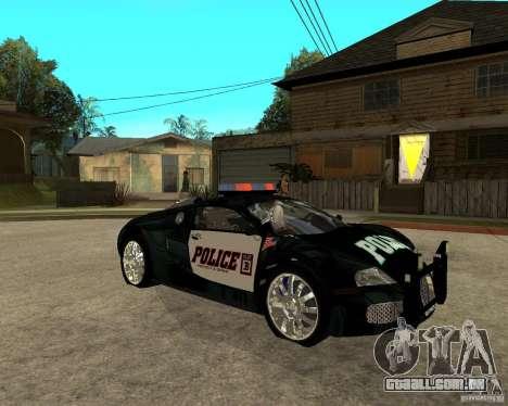 Bugatti Veyron polícia San Fiero para GTA San Andreas vista direita