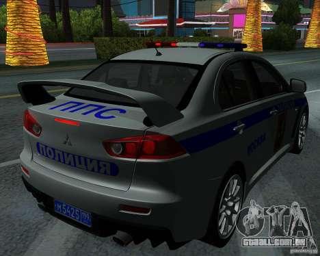 Mitsubishi Lancer Evolution X PPP polícia para vista lateral GTA San Andreas