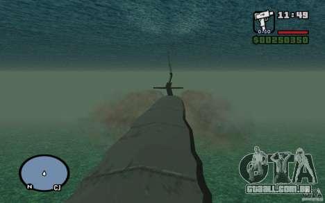 Submarino para GTA San Andreas por diante tela