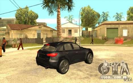 Infiniti FX50 Beta para GTA San Andreas vista direita