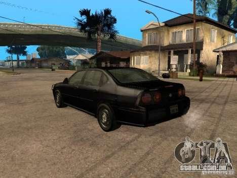 Chevrolet Impala Undercover para GTA San Andreas esquerda vista