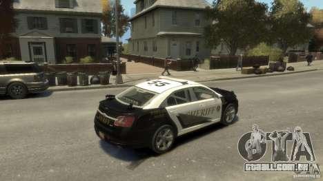 Ford Taurus Sheriff 2010 para GTA 4 vista de volta