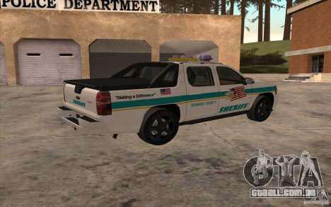 Chevrolet Avalanche Orange County Sheriff para GTA San Andreas esquerda vista