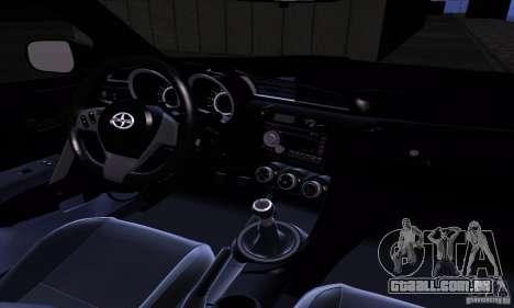 Scion Tc 2012 para GTA San Andreas vista interior