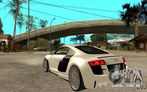 Audi R8 5.2 FSI custom para GTA San Andreas traseira esquerda vista