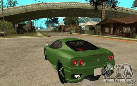 Ferrari 360 Modena para GTA San Andreas traseira esquerda vista