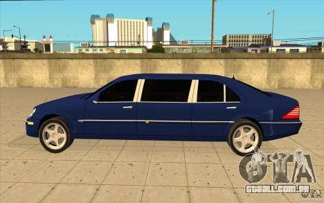 Mercedes-Benz S600 Pullman W220 para GTA San Andreas esquerda vista