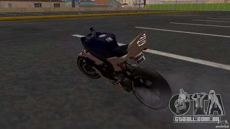 Yamaha YZF-R6 Street Fighter para GTA San Andreas traseira esquerda vista