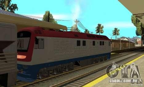 Diesel locomotiva TÈP150-001 para GTA San Andreas traseira esquerda vista