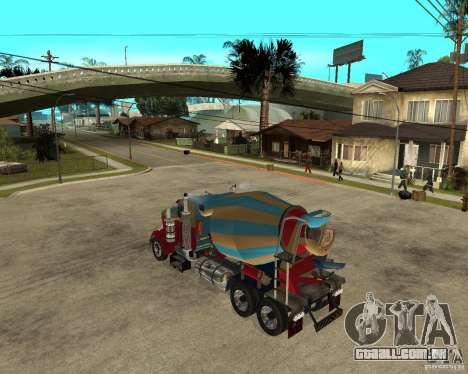 Kenworth W900 CEMENT TRUCK para GTA San Andreas esquerda vista