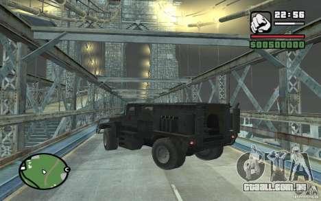 Caminhão militar para vista lateral GTA San Andreas