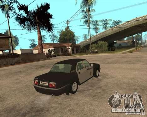 Durante a semana polícia de 3110 Volga GAZ para GTA San Andreas traseira esquerda vista