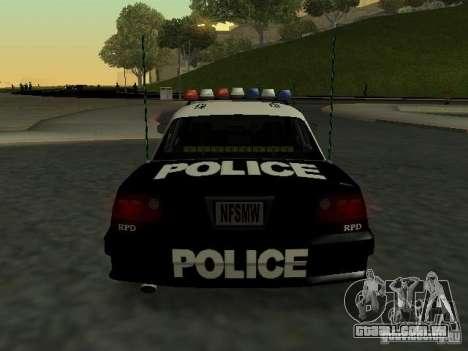 Police Civic Cruiser NFS MW para GTA San Andreas vista direita