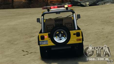 Jeep Wrangler 1988 Beach Patrol v1.1 [ELS] para GTA 4 vista inferior