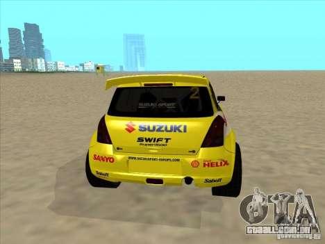 Suzuki Rally Car para GTA San Andreas traseira esquerda vista