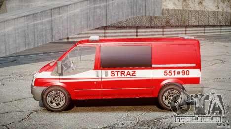 Ford Transit Polish Firetruck [ELS] para GTA 4 vista de volta