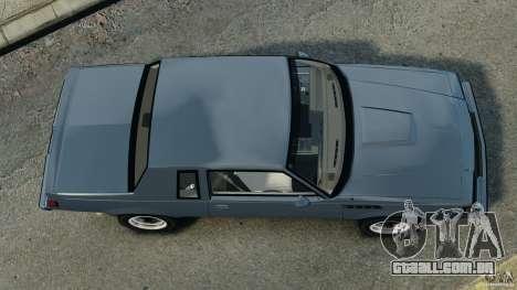 Buick GNX 1987 para GTA 4 vista direita
