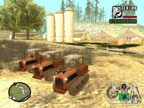 Tractor DT-75 carteiro para GTA San Andreas traseira esquerda vista