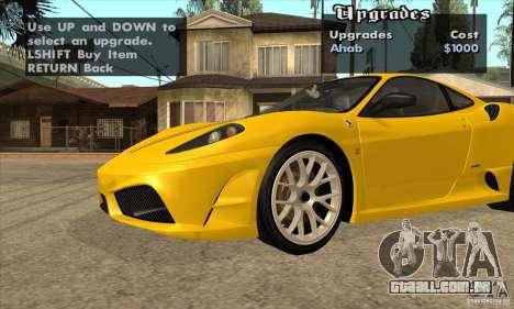 Ferrari F430 Scuderia 2007 para GTA San Andreas traseira esquerda vista
