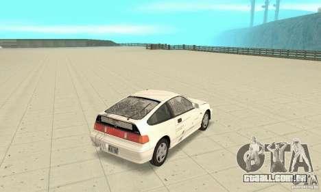 HONDA CRX II 1989-92 para GTA San Andreas vista superior