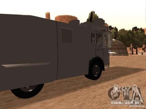 Um canhão de água polícia Rosenbauer v2 para GTA San Andreas traseira esquerda vista