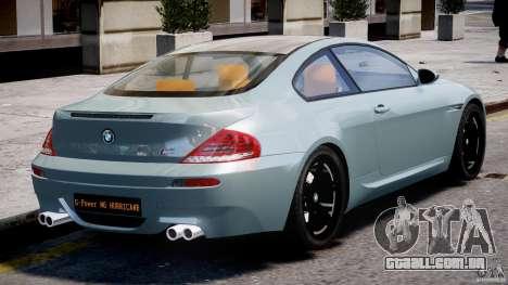 BMW M6 G-Power Hurricane para GTA 4 vista superior