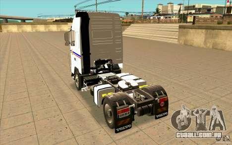 Volvo FH16 Globetrotter TRANSALLIANCE para GTA San Andreas traseira esquerda vista