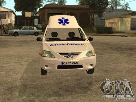 Dacia Logan Ambulanta para GTA San Andreas vista interior