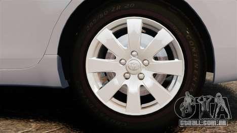 Toyota Camry Altise 2009 para GTA 4 vista de volta