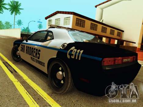 Dodge Challenger SRT8 2010 Police para GTA San Andreas traseira esquerda vista