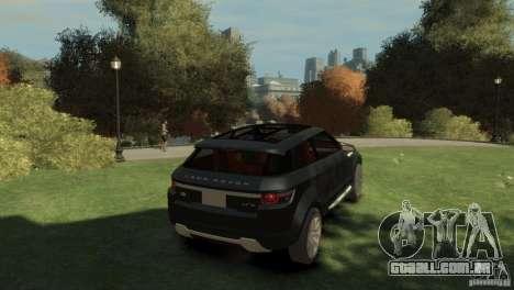 Land Rover Rang Rover LRX Concept para GTA 4 traseira esquerda vista