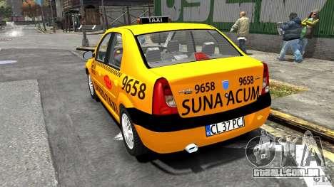 Dacia Logan Prestige Taxi para GTA 4 traseira esquerda vista