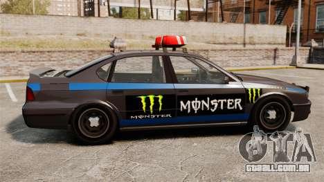 Polícia Monster Energy para GTA 4 traseira esquerda vista