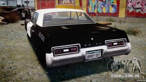 Dodge Monaco 1974 (bluesmobile) para GTA 4 traseira esquerda vista